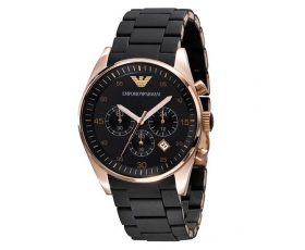 Emporio Armani AR5905 - Mens Chronograph Rose Gold Black Watch