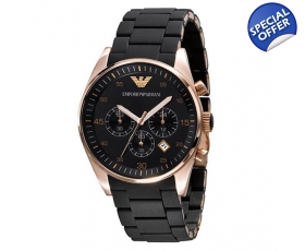 Armani AR5905 - Mens Chronograph Rose Gold Black Watch