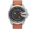 Diesel Chief World Time Black Dial Brown Leather..