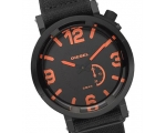 Diesel Black and Orange Dial Black Canvas Strap ..