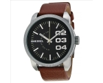 Diesel Black Dial Tan Leather Strap Mens Watch D..