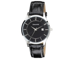 Accurist MS649B Mens Black Leather Strap Watch