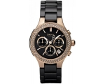 DKNY Ladies' Black Ceramic and Rose Gold Chronog..
