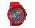 Diesel Double Down Gunmetal Dial Red Silicone Me..