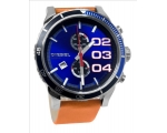 Diesel Double Down Blue Dial Tan Leather Mens Wa..