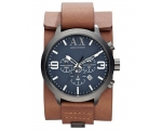 Armani Exchange Dark Blue Dial Brown Leather Cuf..