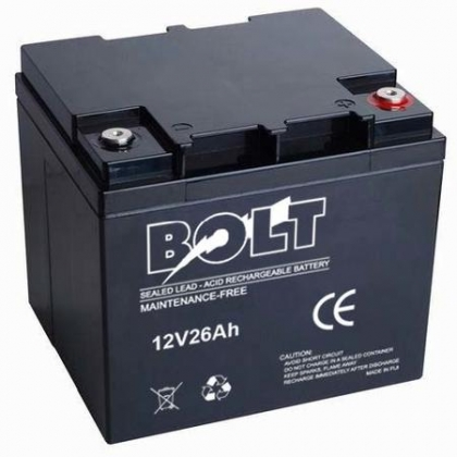 Bolt 12V/26Ah Deep Cycle Solar Rechargeable Battery