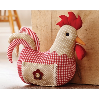Red Chicken Door Stop title=