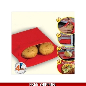 Microwave Oven Potato Baking Bag, Steam Pocketcooks 4 potatoes at once In 4 Minutes Washable Potato Cooker Bag