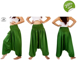 Green Romper Harem Combination Wear 2 Ways Pants or Jumpsuit