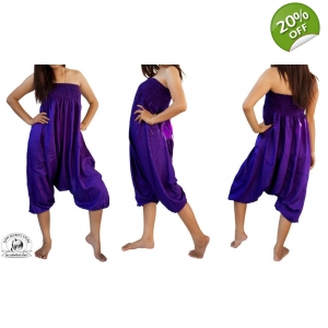 Purple Jumpsuit Harem Pants One-size Baggy Trousers