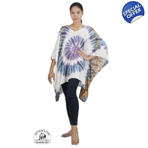 White Tie Dye Caftan Poncho Tunic Freesize Beach Coverup