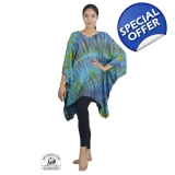 Authentic Tie Dye Blue Poncho Tunic Fr..