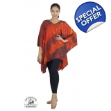 Vibrant Orange Tie Dye Poncho Freesize..