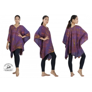 Purple Tie Dye Caftan Beach Coverup Hand Crafted Unisex Poncho