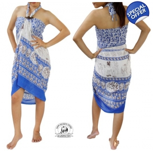 Thai Sarong with Elephant Design Summer Beach Wrap Blue