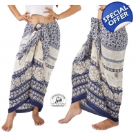 Thai Sarong with Elephant Design Summer Beach Wrap Indigo