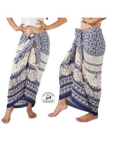 b34ea849f6 Thai Sarong with Elephant Design Summer Beach Wrap Indigo
