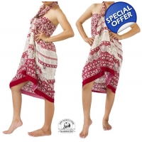 Maroon Sarong with Elephant Design Summer Beach ..