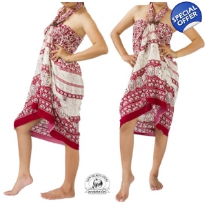 Maroon Sarong with Elephant Design Summer Beach Wrap