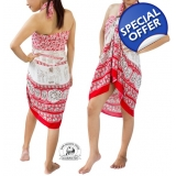 Red Sarong with Elephant Design Summer..