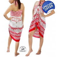 Red Sarong with Elephant Design Summer Beach Wrap