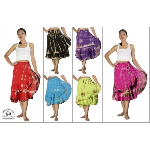 Siam Secrets Tie Dye Wrap Skirt Tiered Gypsy Beach Wrap