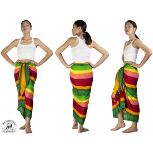 Rainbow Sarong Beach Wrap Pareo Dress Skirt or Shawl Green