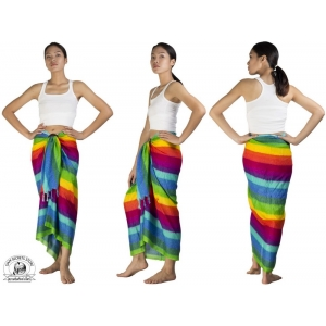 Rainbow Sarong Beach Wrap Pareo Dress Skirt or Shawl Light Blue