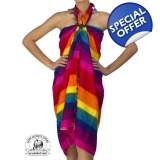 Rainbow Sarong Beach Wrap Pareo Dress ..