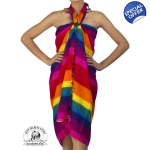 Rainbow Sarong Beach Wrap Pareo Dress Skirt or Shawl Pink