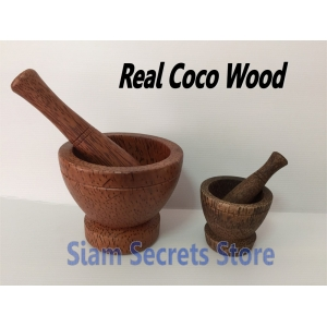Thai Pestle and Mortar Food grinding & Mashing 2 sizes Beautiful Coco Wood
