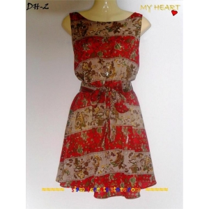 Cotton Mini Dress Red Floral-Feminine Asain Pattern Red mixed