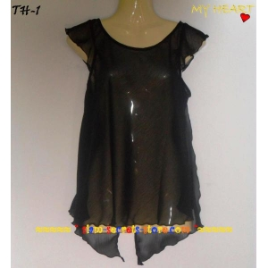 Stunning Asian Design Chiffon Ruffle Ladies Top Black Crepe Rare
