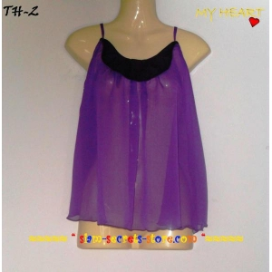 Sexy Chiffon Strappy Ladies Top-Purple Sheer Crepe Stunning