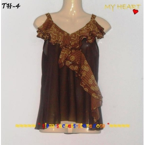 Chiffon Ladies Top Ruffle Brown Crepe Sheer Fabric Asian style