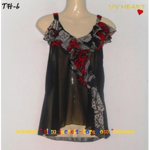 Sexy Sheer Black Chiffon Ladies Top Ruffle front By My Heart
