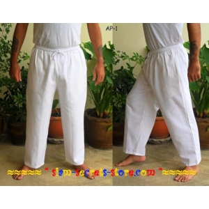 White Cotton Trousers Pants Drawstring Waist Unisex Sizes to 4XL