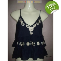 Pretty Ethnic Cotton Strappy Top Gypsy Style Loo..