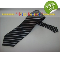 Stylish Grey Silver striped Quality Silk Tie-Han..