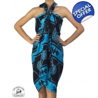 Blue and Black Sarong Tribal Batik Print Ocean P..