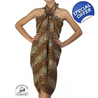 Sexy Cat Print Sarong Pareo Beach Coverup Coffee..