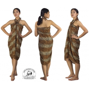 Sexy Cat Print Sarong Pareo Beach Coverup Coffee and Cream Stripe