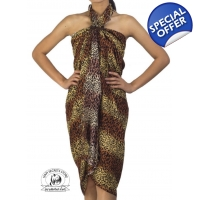Leopard Print Sarong Pareo beach Coverup Brown a..