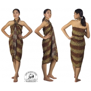 Leopard Print Sarong Pareo beach Coverup Brown and Yellow Stripe