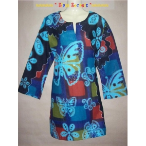 Long Hippy Blue Butterfly Top-Mini Long sleeved Cotton