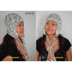 Handmade Knitted Winter Hat warm Hippy style Black & White