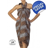 Unisex Leopard Pattern Sarong Brown Wh..