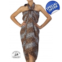 Unisex Leopard Pattern Sarong Brown White Pareo ..