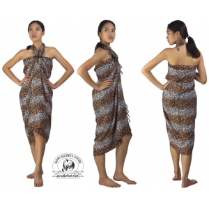 Unisex Leopard Pattern Sarong Brown White Pareo Shawl or Scarf